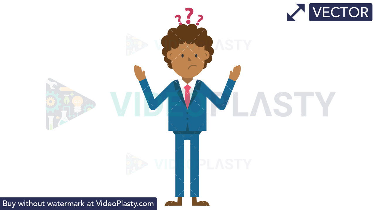Black Corporate Man Looking Confused Vector Clipart