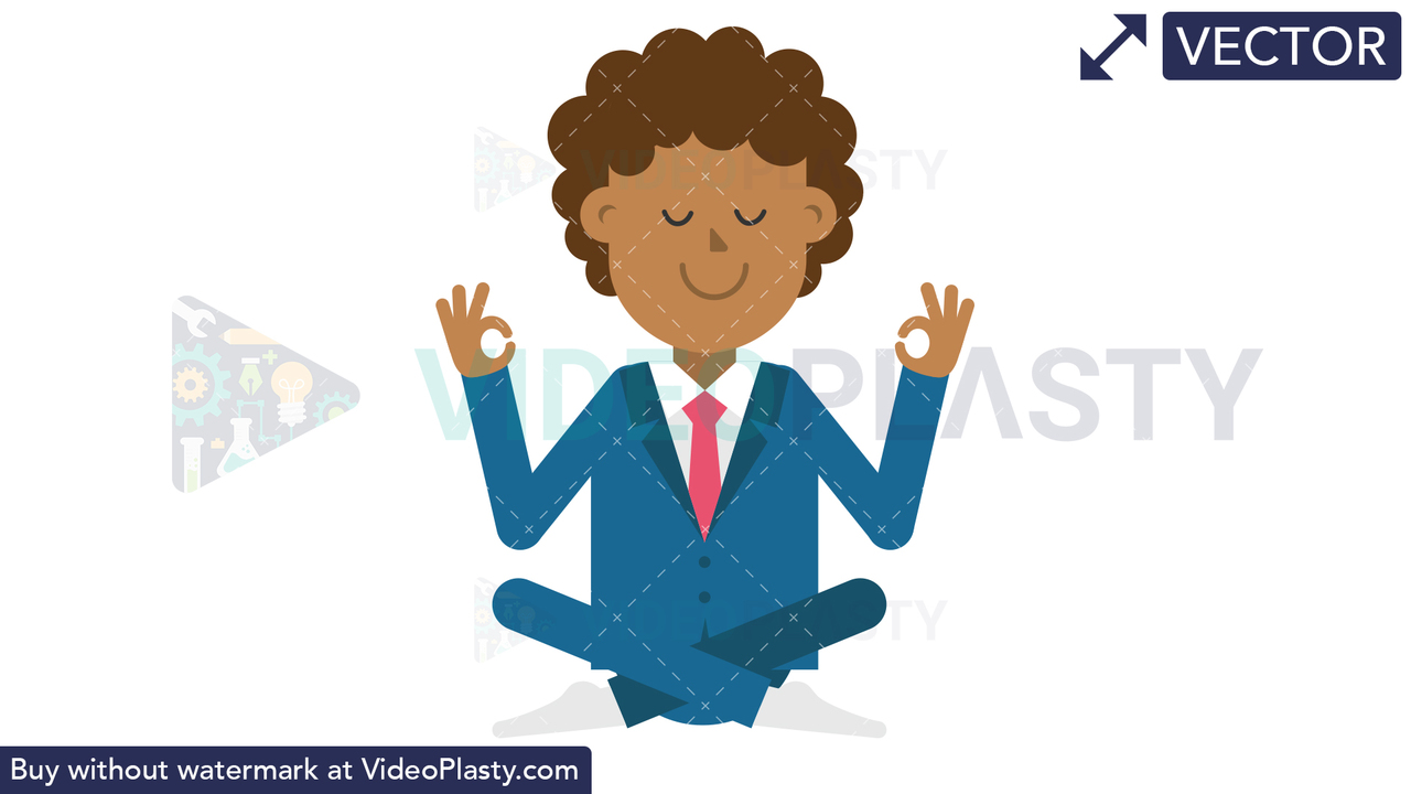 Black Corporate Man Meditating Vector Clipart