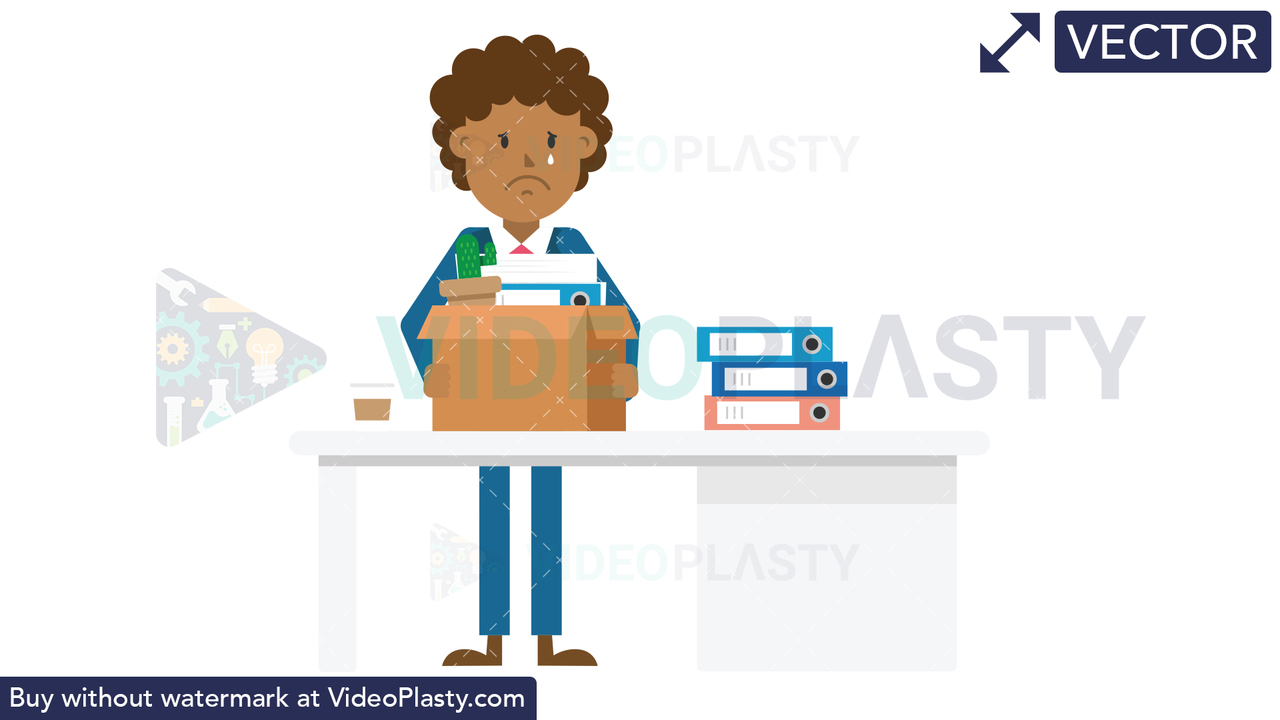 Black Corporate Man Packing His Things Vector Clipart