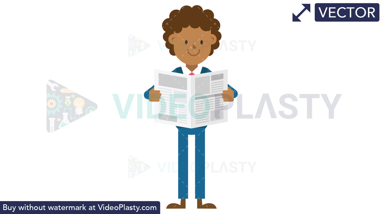 Black Corporate Man Reading a Newspaper Vector Clipart