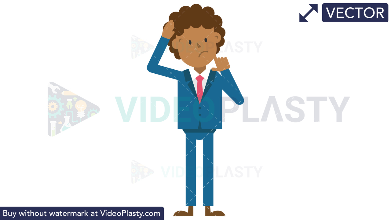 Black Corporate Man Scratching His Head Thinking Vector Clipart