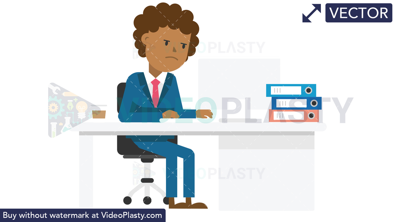 Black Corporate Man Serious at Work Vector Clipart