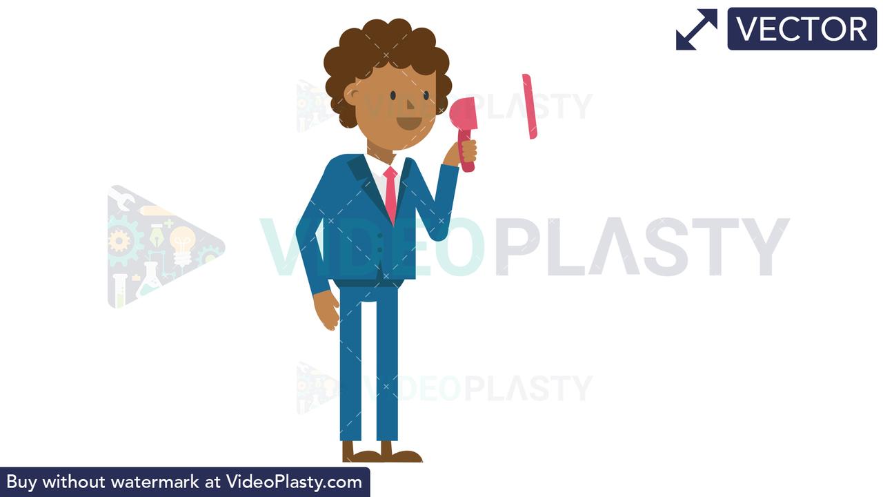 Black Corporate Man Using a Megaphone Vector Clipart