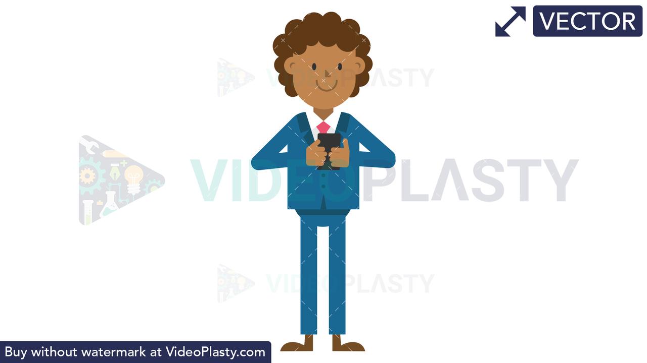 Black Corporate Man Using Phone Vector Clipart