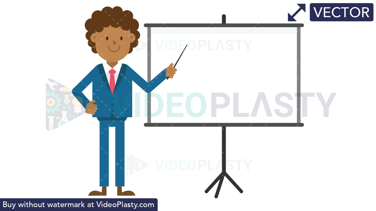 Black Corporate Man Using the Projector Screen Vector Clipart