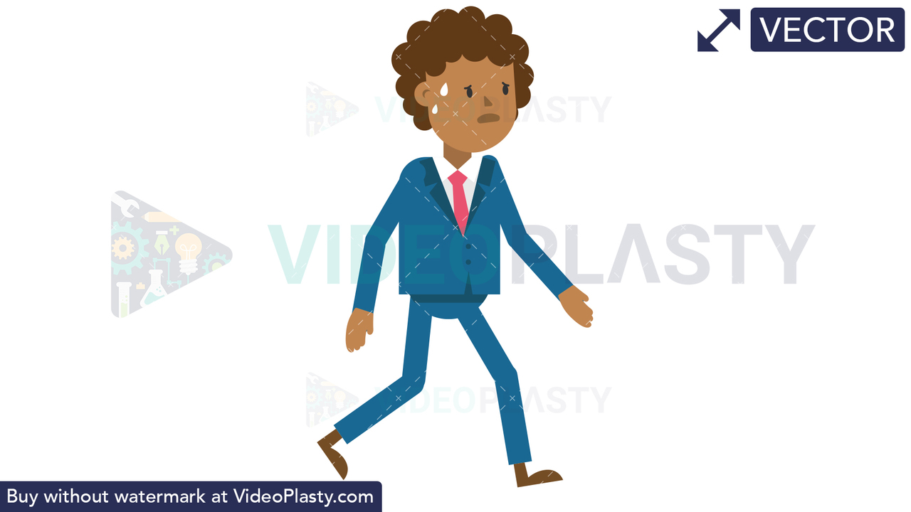 Black Corporate Man Walking Tired Vector Clipart