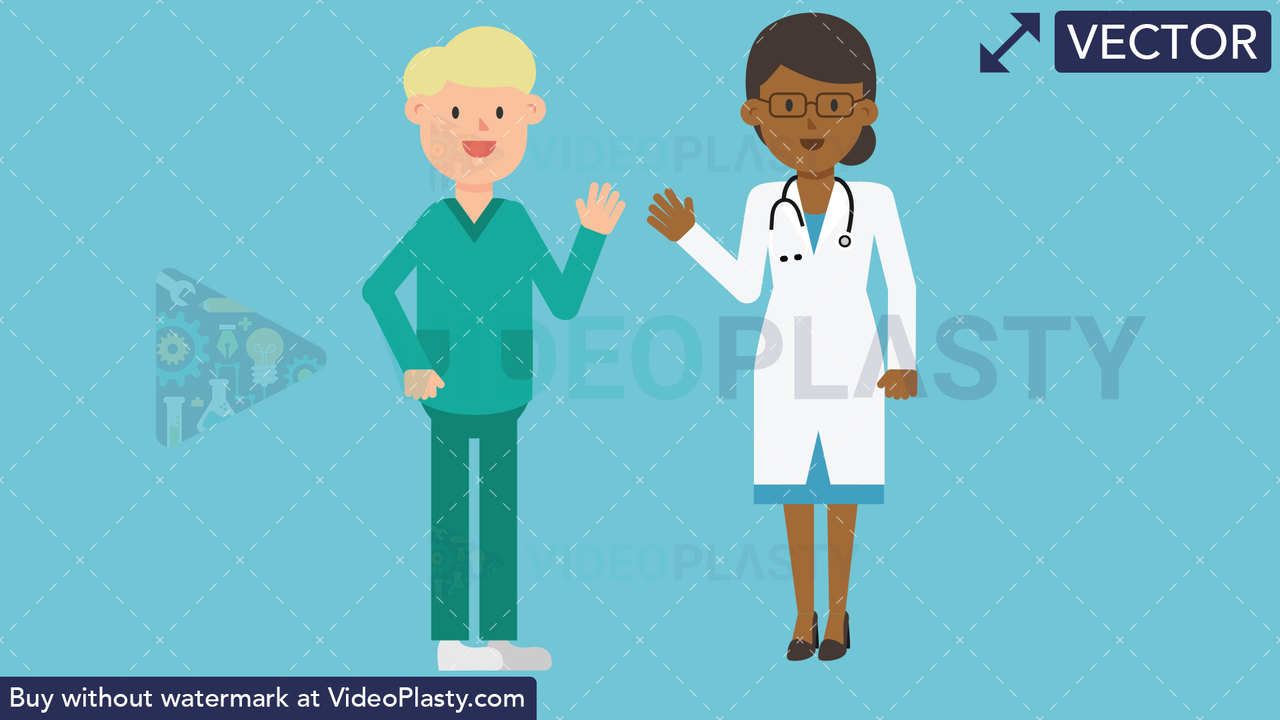 Black Female Doctor and Nurse Waving Vector Clipart