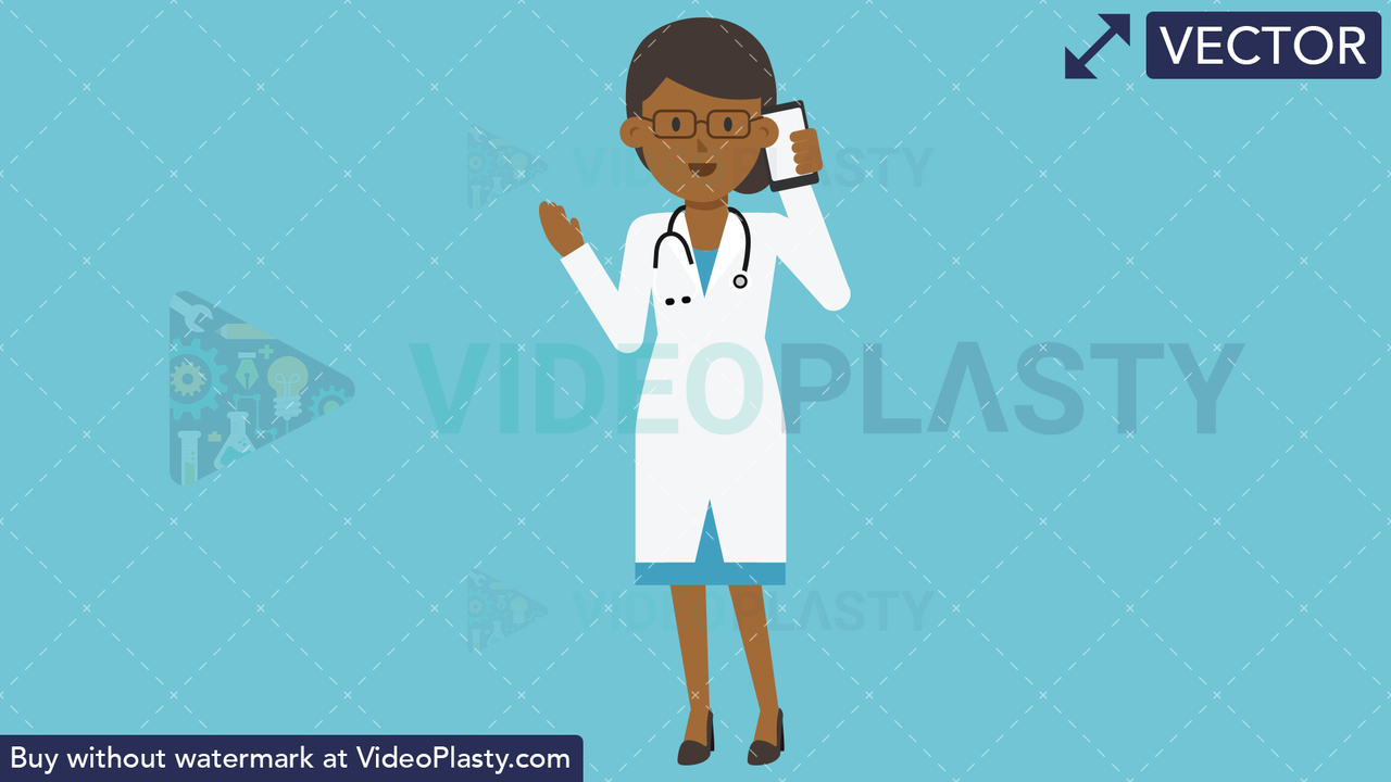 Black Female Doctor Talking on the Phone Vector Clipart
