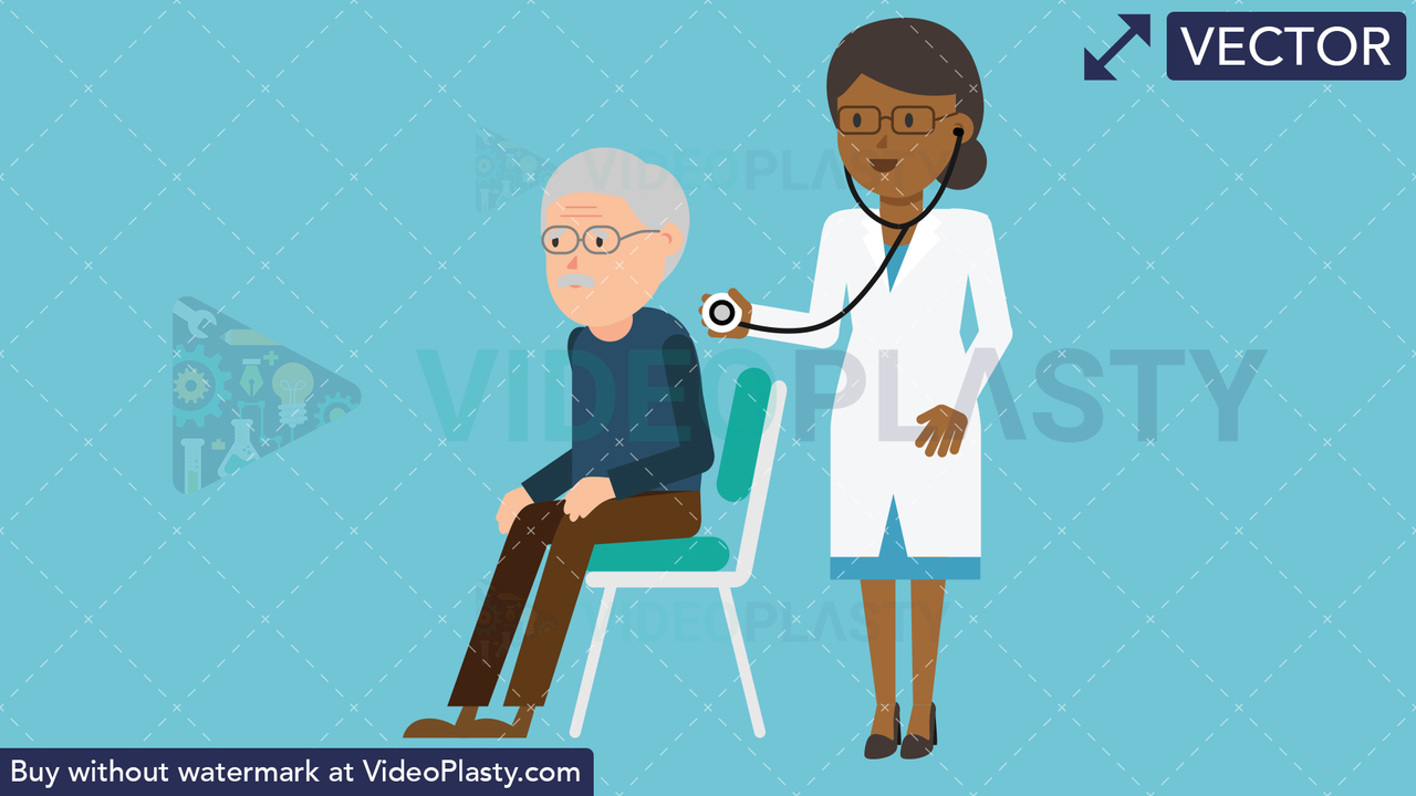 Black Female Doctor with Patient Checkup Vector Clipart