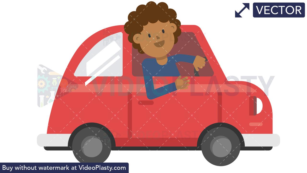 Black Man Driving Car Vector Clipart
