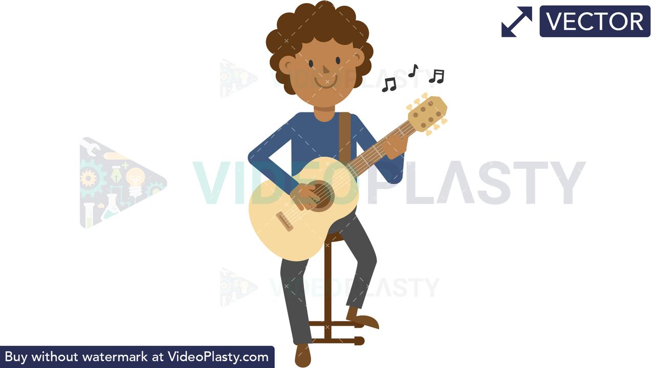 Black Man Playing Guitar Sitting Vector Clipart