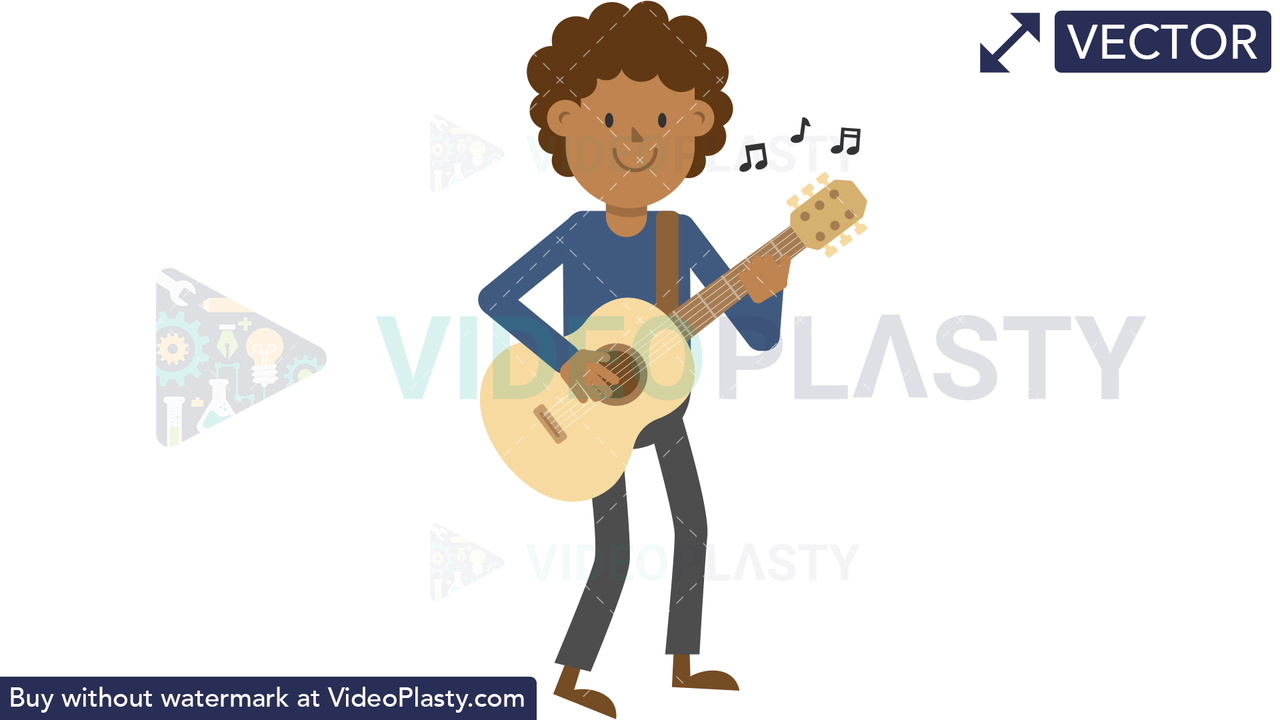 Black Man Playing Guitar Standing Vector Clipart