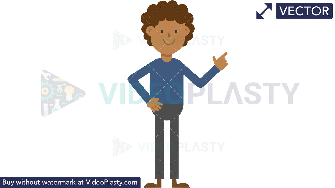 Black Man Pointing to the Right Vector Clipart