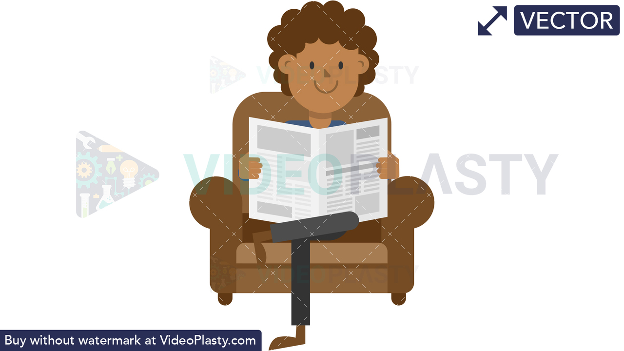 Black Man Reading Newspaper on the Couch Vector Clipart