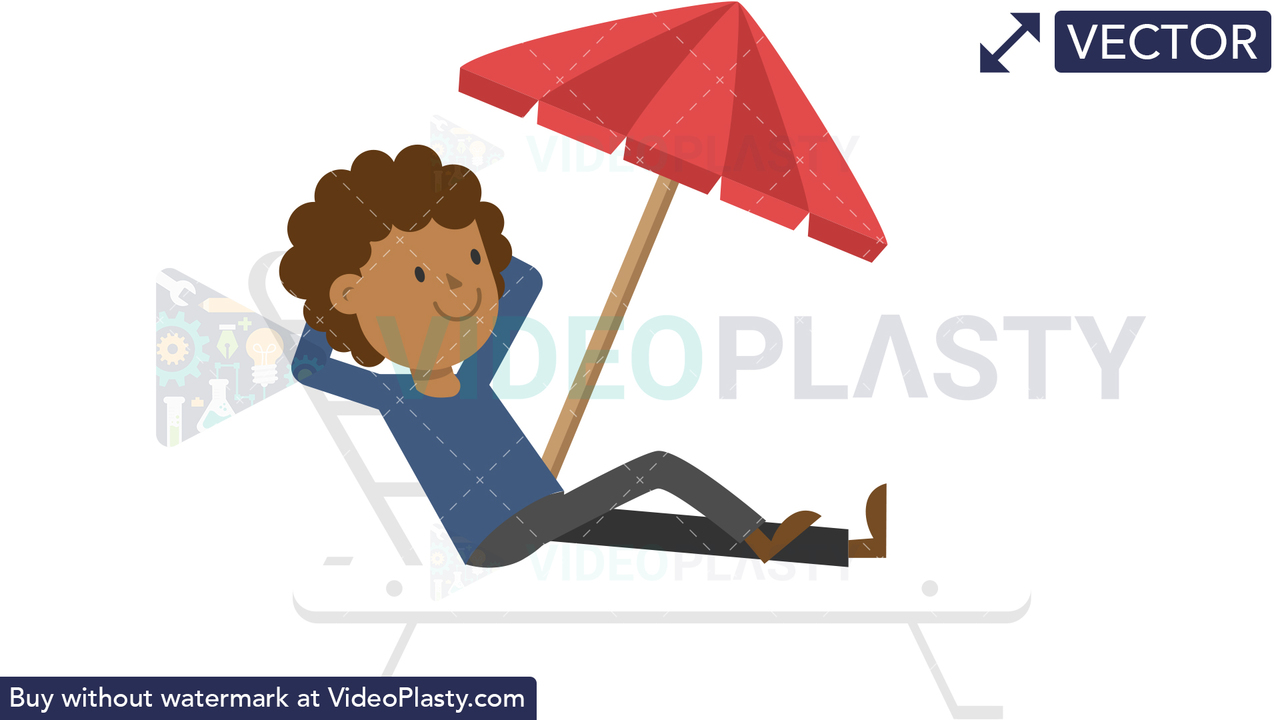 Black Man Relaxing on the Beach Vector Clipart