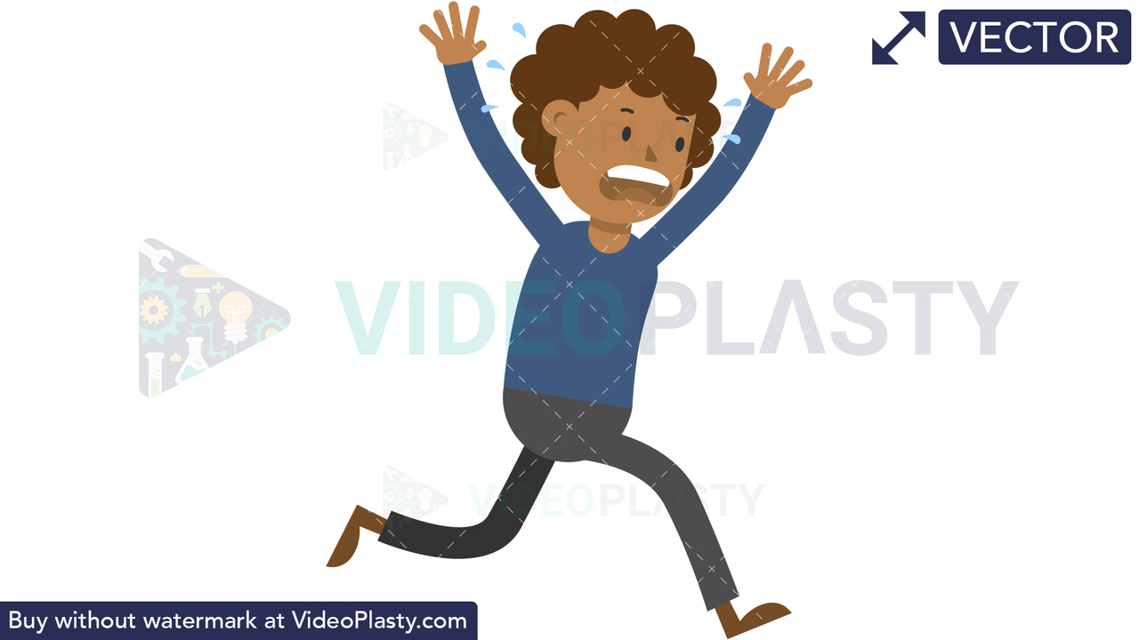 Black Man Running Scared Vector Clipart