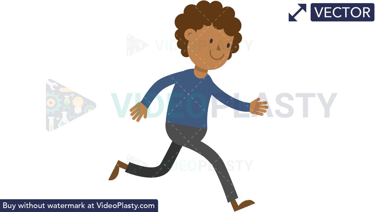 Black Man Running Vector Clipart