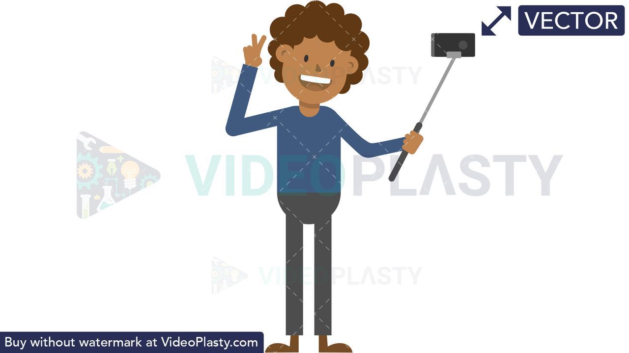Black Man Taking a Selfie Vector Clipart