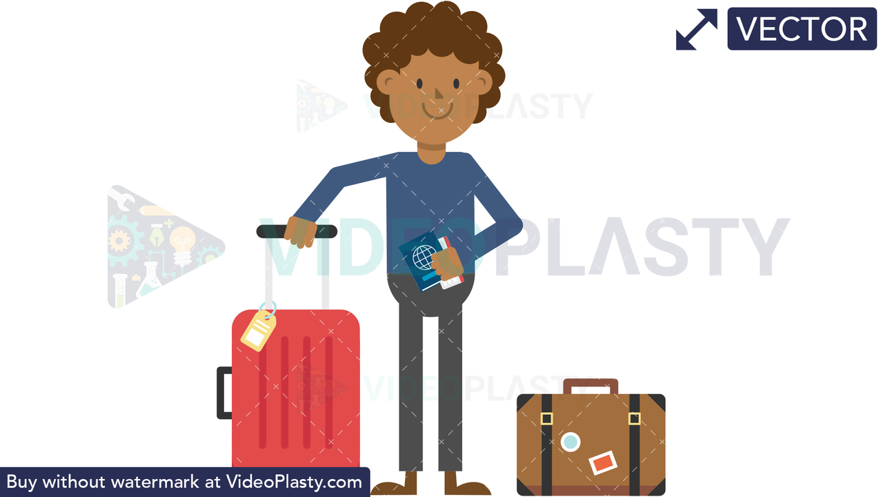 Black Man Traveling with Luggage Vector Clipart