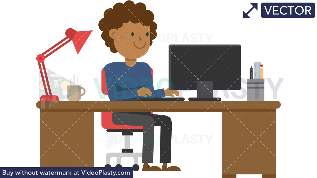 Black Man Working at his Desk Vector Clipart