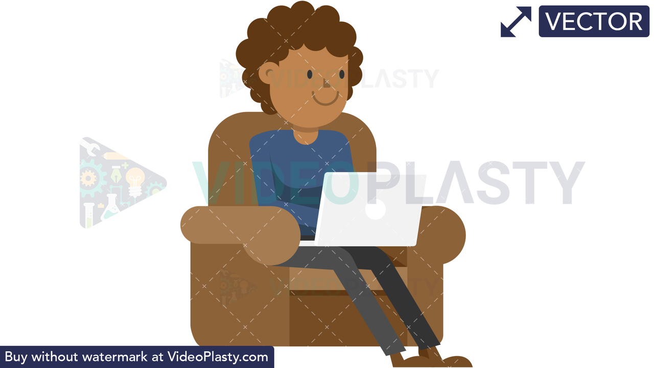 Black Man Working at his Laptop on the Couch Vector Clipart
