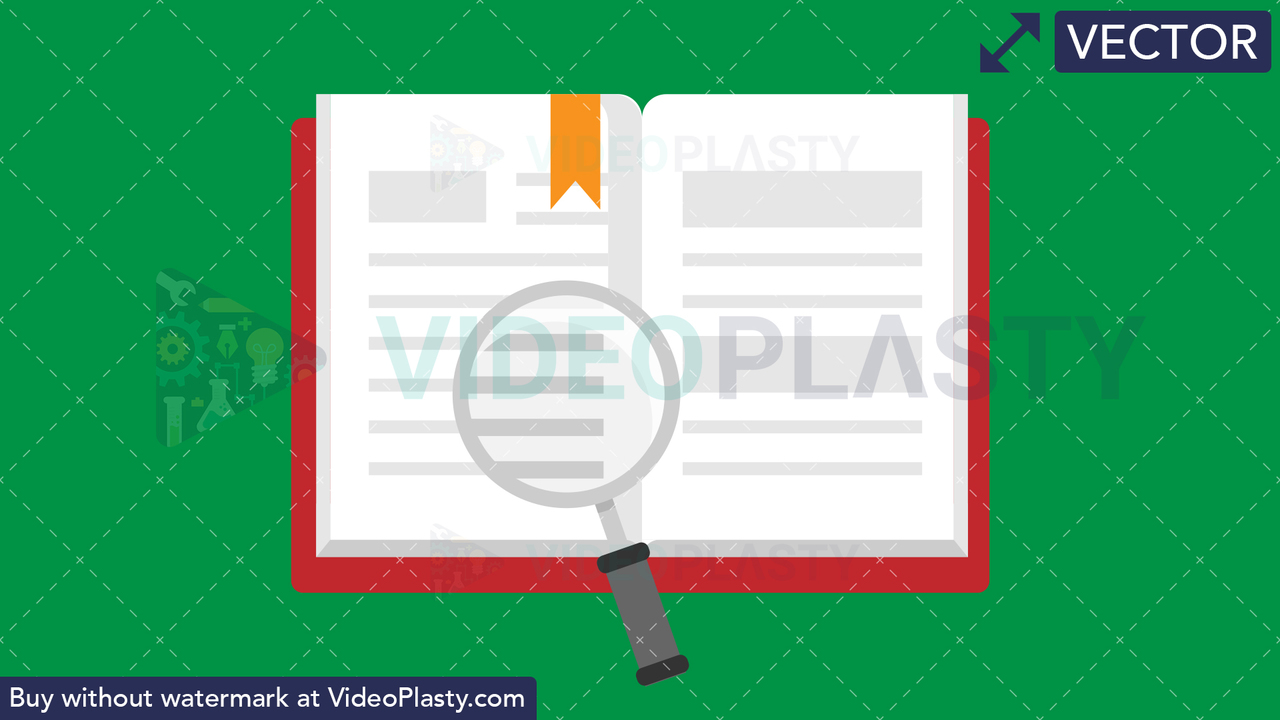 Book with Lens Flat Icon Vector Clipart