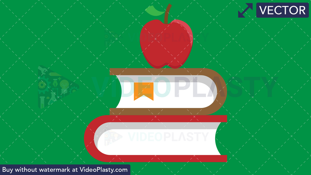 Books with Apple Flat Icon Vector Clipart