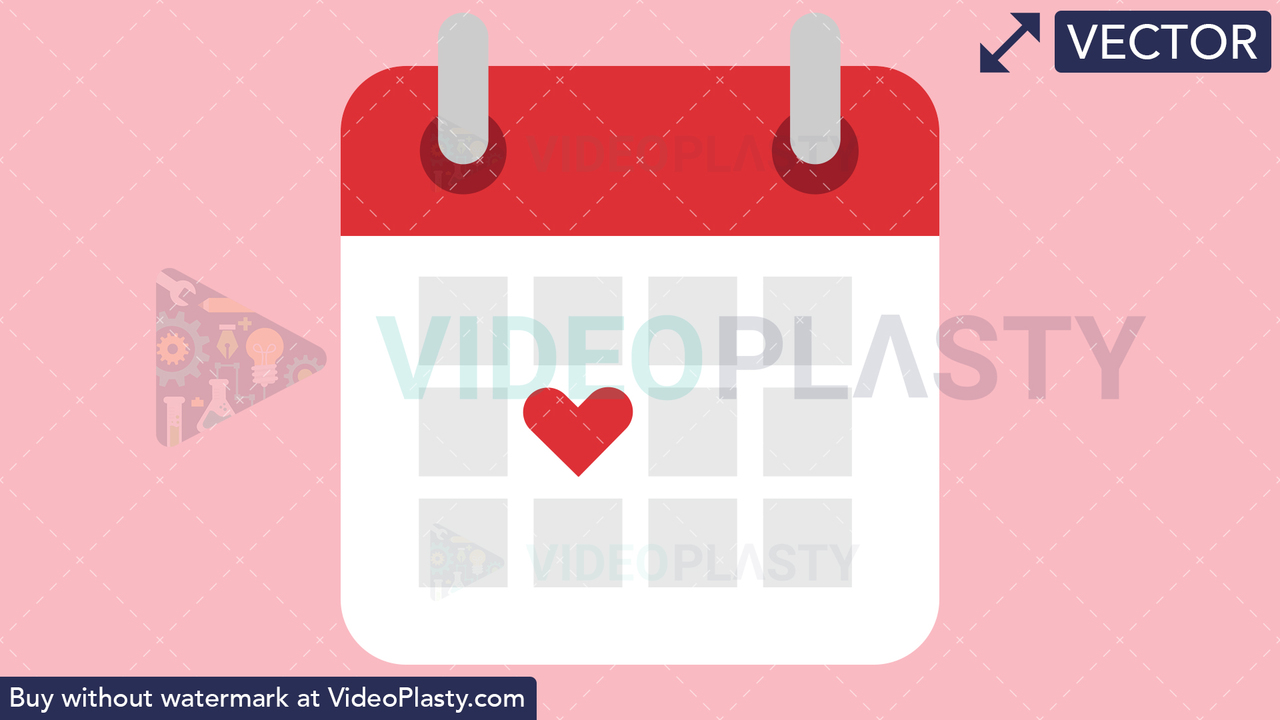 Calendar with Heart Vector Clipart