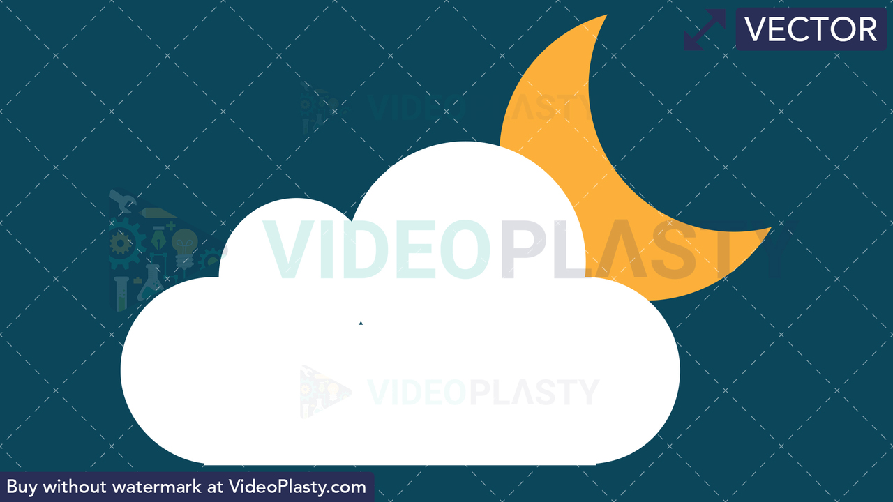 Cloudy Night Icon Vector Clipart