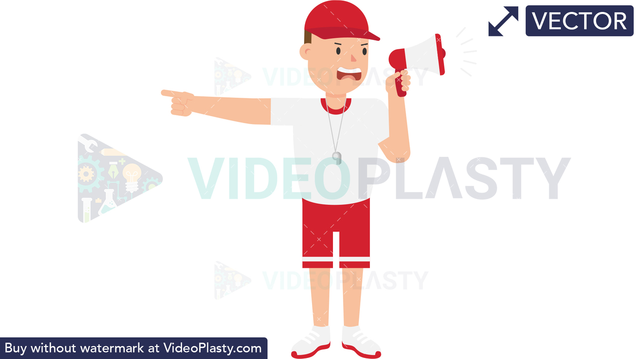 Coach Yelling Vector Clipart