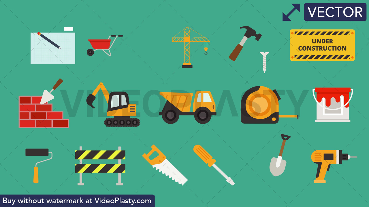 Construction Pack - 16 Icons Vector Clipart