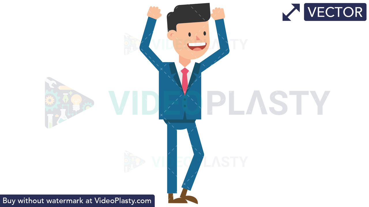 Corporate Man Being Happy Vector Clipart