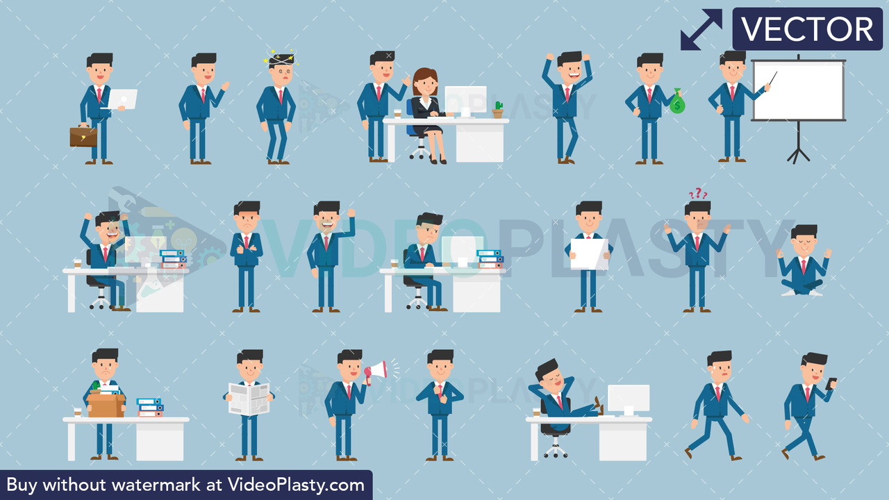 Corporate Man Bundle - 21 Character Actions Vector Clipart