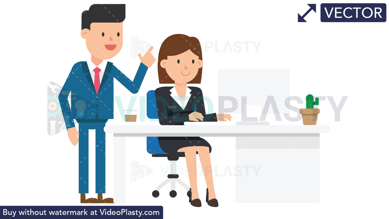 Corporate Man Giving Instructions Vector Clipart
