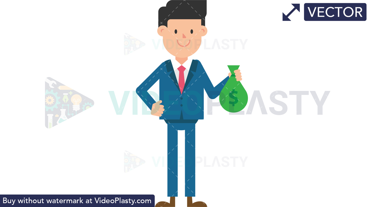 Corporate Man Holding a Sack of Money Vector Clipart