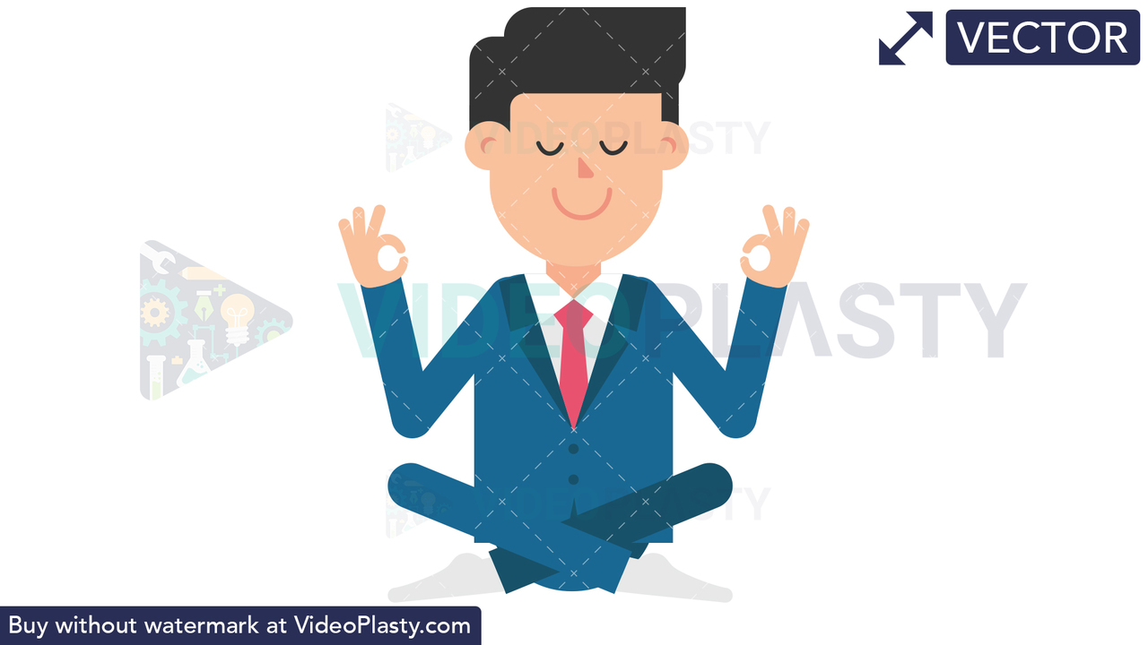 Corporate Man Meditating Vector Clipart
