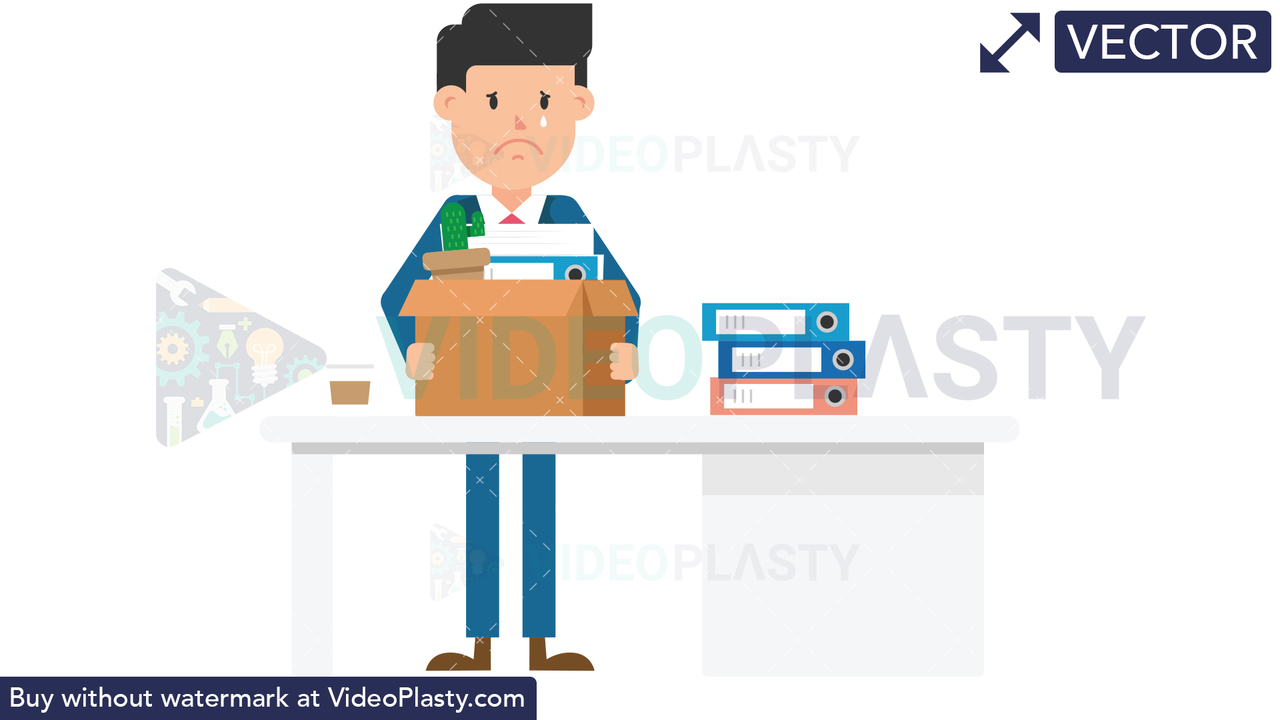 Corporate Man Packing His Things Vector Clipart
