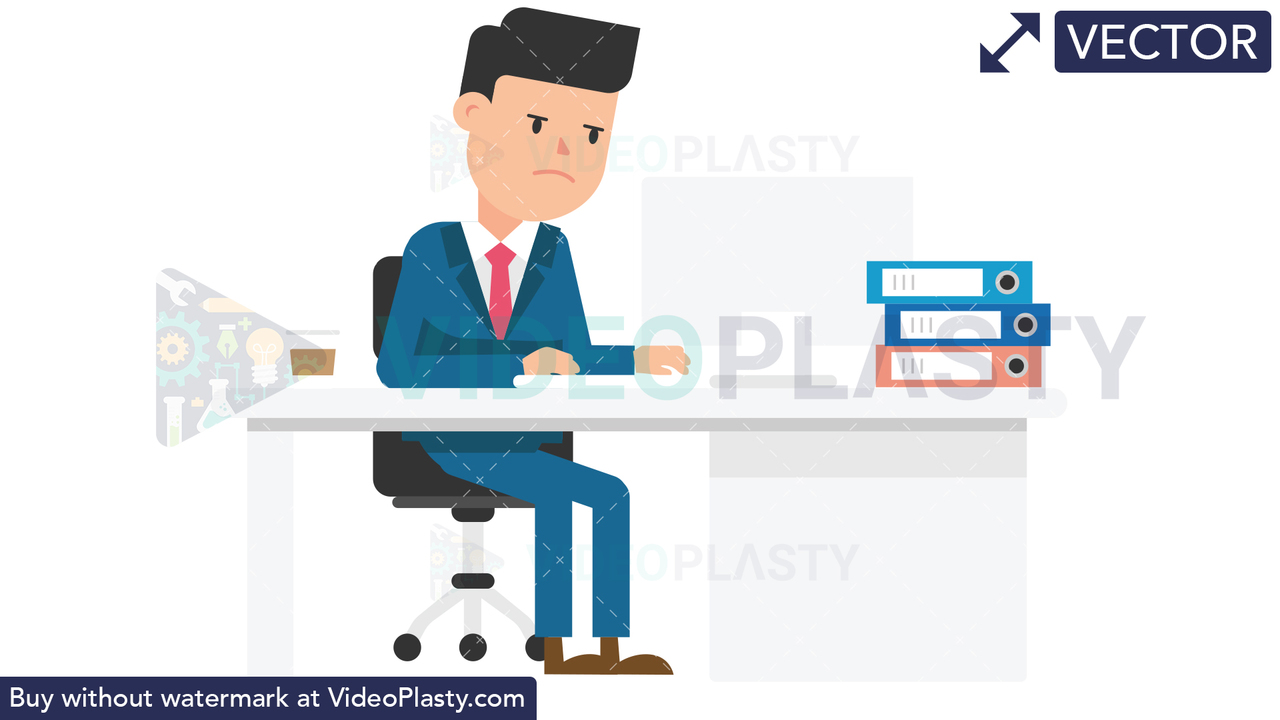 Corporate Man Serious at Work Vector Clipart