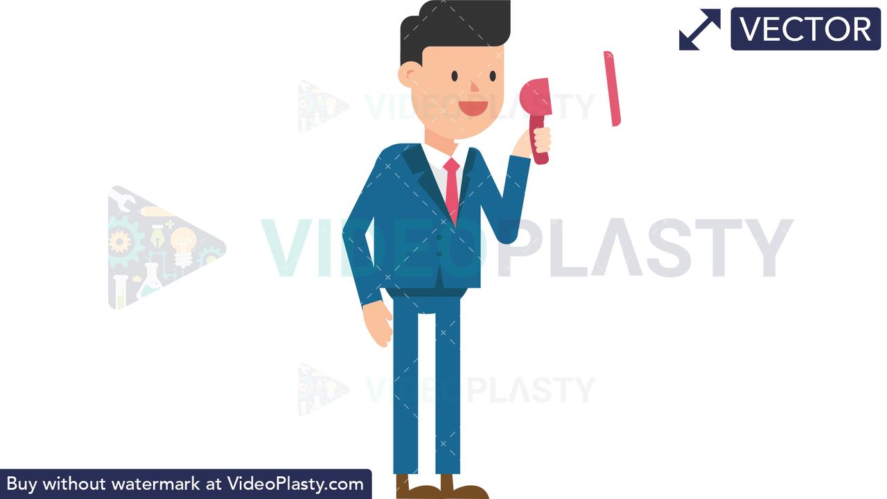 Corporate Man Using a Megaphone Vector Clipart