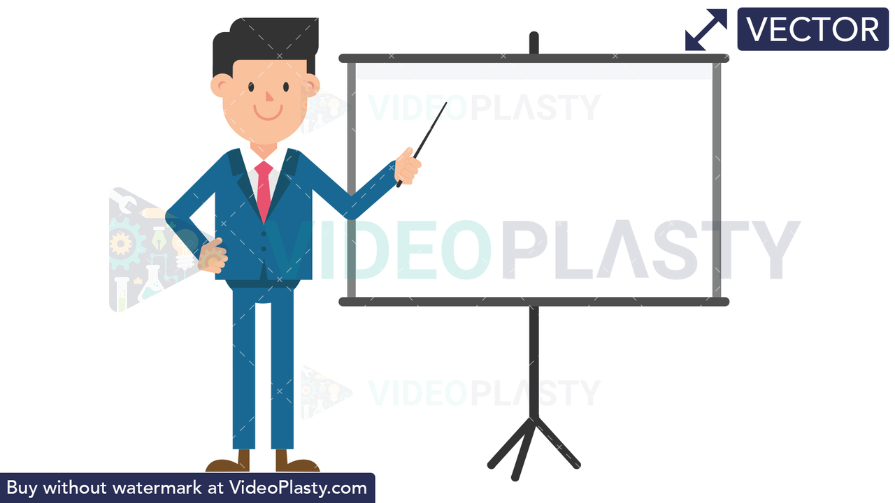 Corporate Man Using the Projector Screen Vector Clipart