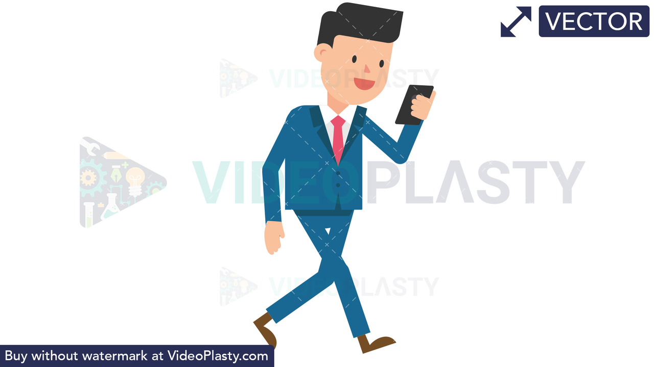 Corporate Man Walking Looking at His Cellphone Vector Clipart