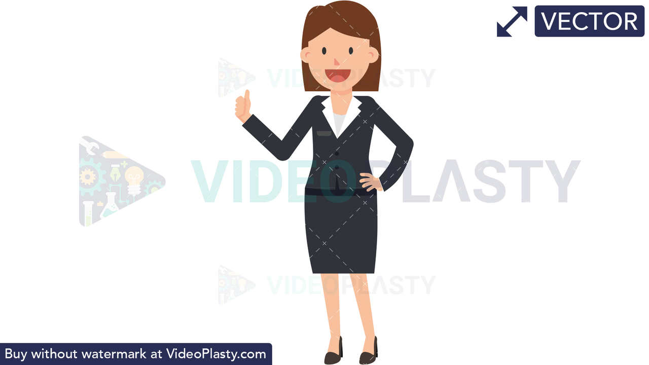 Corporate Woman Approving Vector Clipart