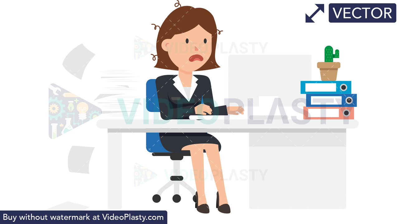 Corporate Woman Being Stressed at Work Vector Clipart