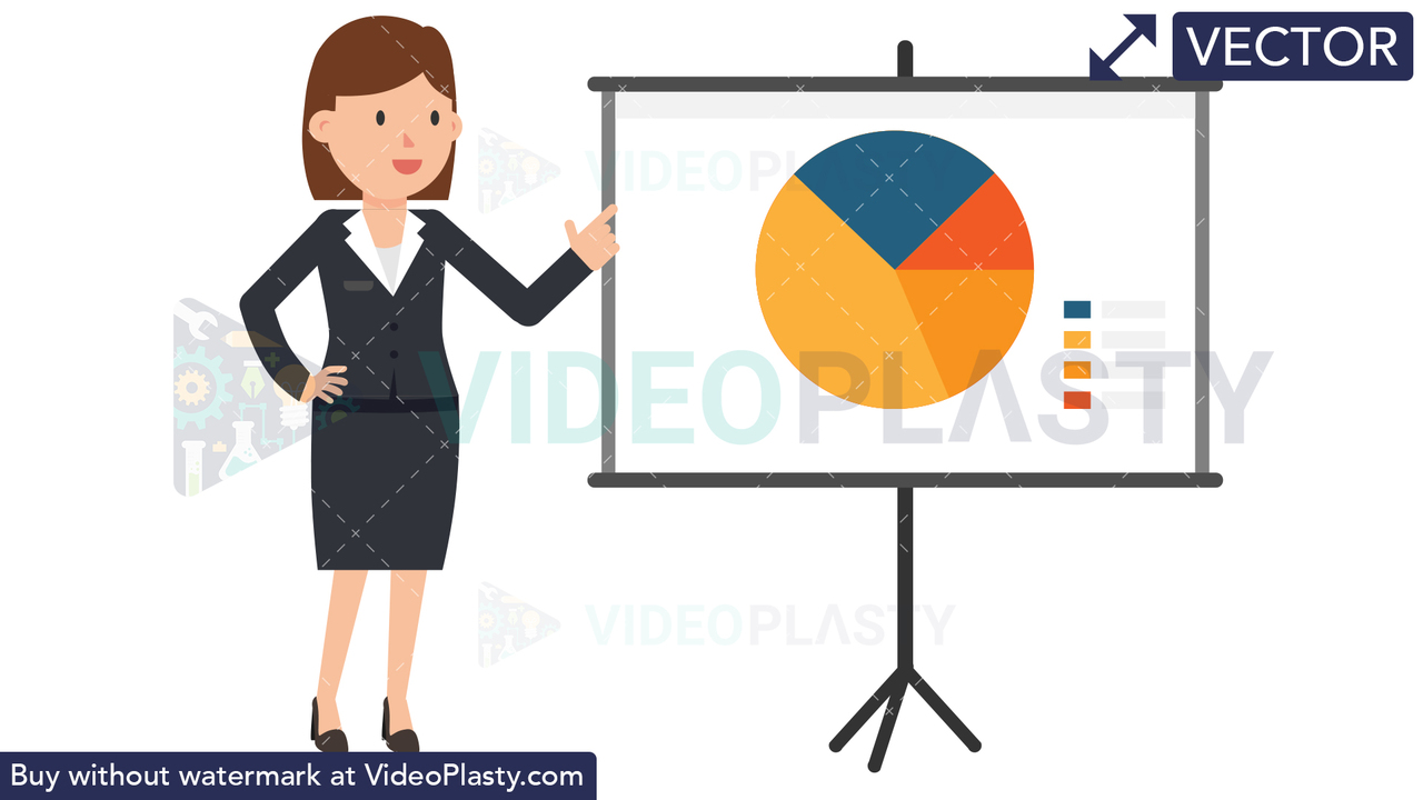 Corporate Woman Giving Presentation Vector Clipart