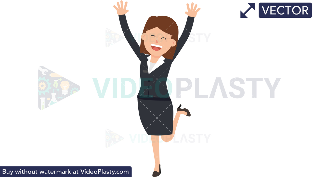 Corporate Woman Jumping for Joy Vector Clipart