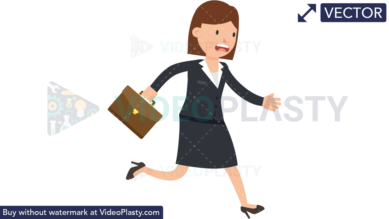 Corporate Woman Running Late Vector Clipart