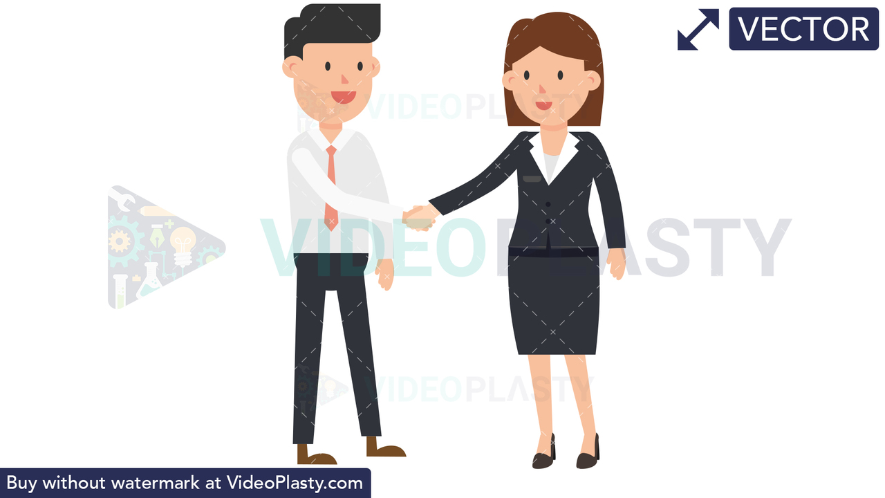 Corporate Woman Shaking Hand Vector Clipart