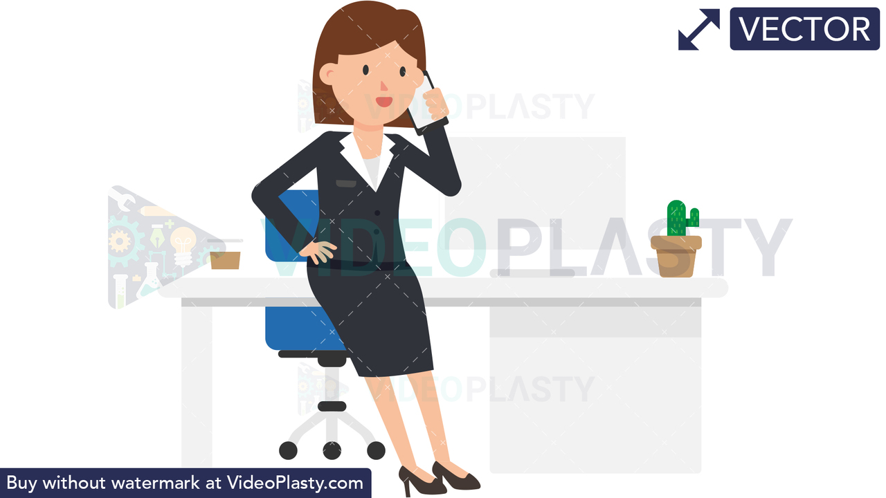 Corporate Woman Talking on the Phone Vector Clipart