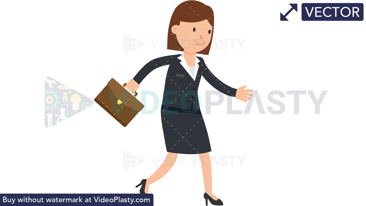 Corporate Woman Walking With Suitcase Vector Clipart