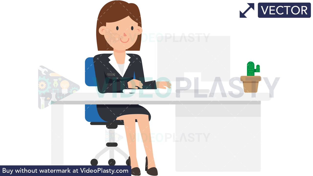 Corporate Woman Working at her Desk Vector Clipart